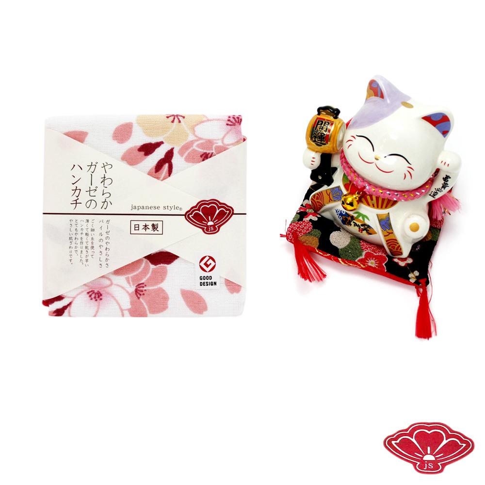 JS 日本製純棉方巾-手鞠櫻 30x30