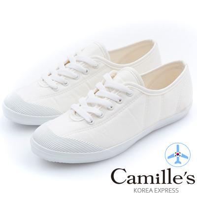Camille 韓國空運-正韓製-綁帶車線帆布平底休閒鞋-米白