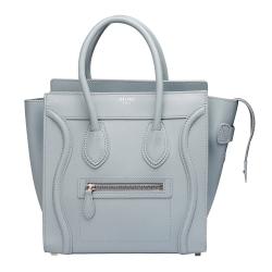 CELINE Micro Luggage 小牛皮手提微笑冏臉包(天空藍)
