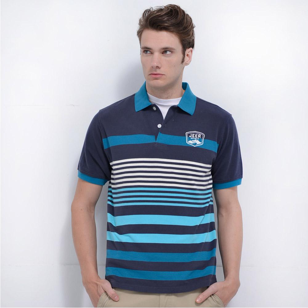 Jeep 條紋POLO衫-藍色