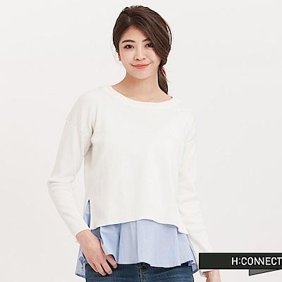 H:CONNECT 韓國品牌 女裝 - 浪漫直紋傘襬毛衣-米白