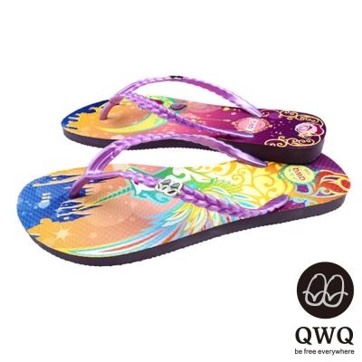 QWQ夾拖的創意(女) - 藝術塗鴨 幻夜 夾腳拖鞋 - 彩紫