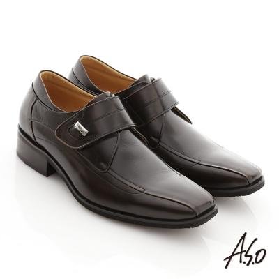 A.S.O 超輕型男 真皮金屬飾扣魔術帶輕量紳士鞋 茶