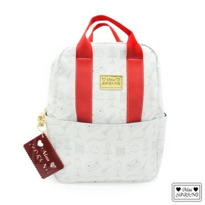 MINI SPRING-Honey-蜜糖圖騰後背包-甜蜜紅/淺灰印花白底
