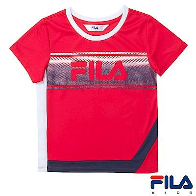 FILA KIDS 女童吸濕排汗上衣-紅5TES-4410-RD
