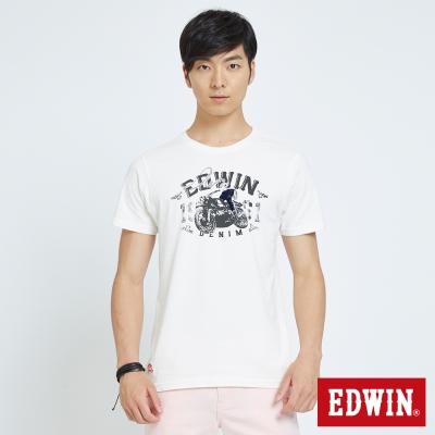 EDWIN 騎士植絨印花T恤-男-米白色