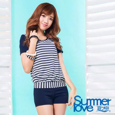 夏之戀SUMMERLOVE 比基尼泳裝 短袖T恤款兩件式泳裝 水藍色條紋