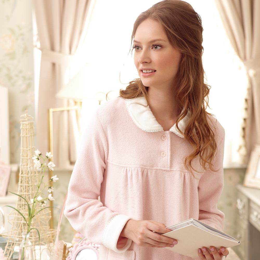羅絲美睡衣 -  暖暖棉羊布長袖洋裝睡衣 (甜美粉)