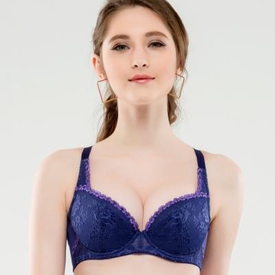 思薇爾 瑰麗花戀系列B-F罩蕾絲包覆內衣(爵士藍)