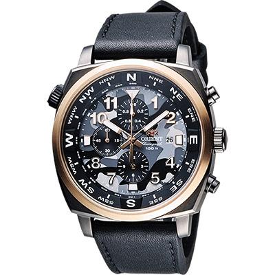 ORIENT 東方錶 怒海爭峰迷彩風三眼計時腕錶-灰x黑/46mm