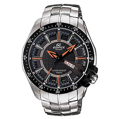 CASIO EDIFICE時尚前端新品味指針錶(EF-130D-1A5)-橘時針/44mm