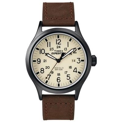 TIMEX Expedition超越巔峰登山探險腕錶-米白面x咖啡錶帶/40mm