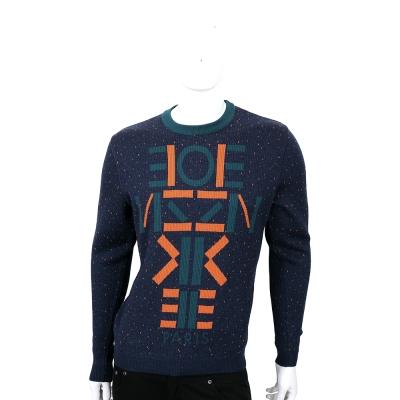 KENZO 藍綠色字母圖騰粗針織上衣(100%WOOL)