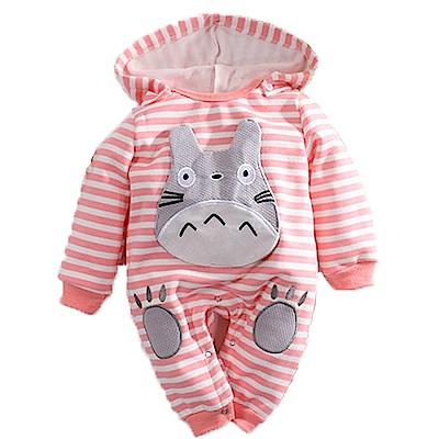 魔法Baby 條紋刷毛連帽嬰兒連身衣 桔 k60635