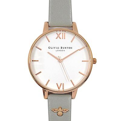 Olivia Burton英倫復古手錶 簡約3D蜜蜂裝飾錶帶  灰色真皮玫瑰金框38mm