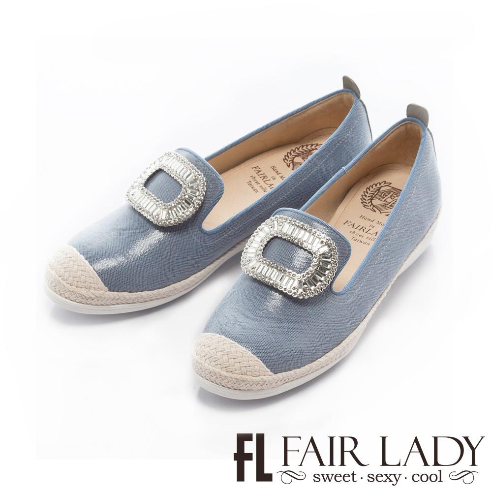 Fair Lady Soft Power軟實力 水鑽草編樂福休閒鞋 牛仔藍