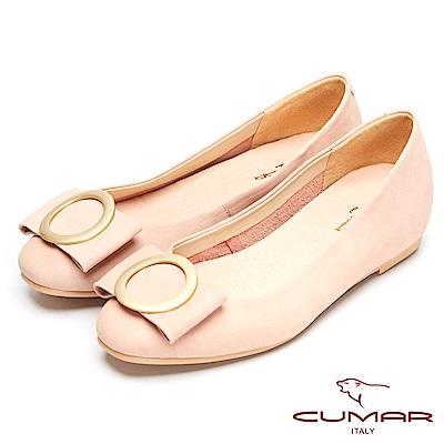 CUMAR時尚美人-搶眼裝飾隱藏增高平底鞋-粉紅色