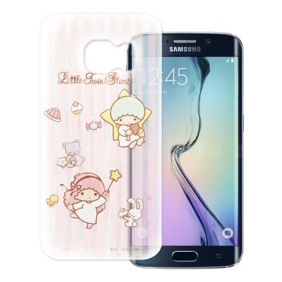 KikiLala雙子星Samsung S6 edge 透明軟式手機殼 粉紅條紋款