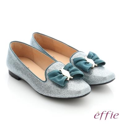 effie 個性美型 真皮蝴蝶結飾釦奈米平底鞋 淺藍色