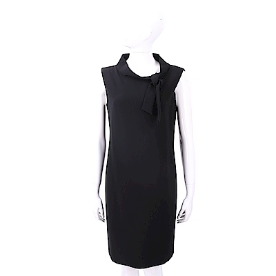BOUTIQUE MOSCHINO 小立領黑色極簡紗質洋裝