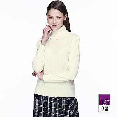 ILEY伊蕾 提花組織翻領暖感毛衣(白/黑)