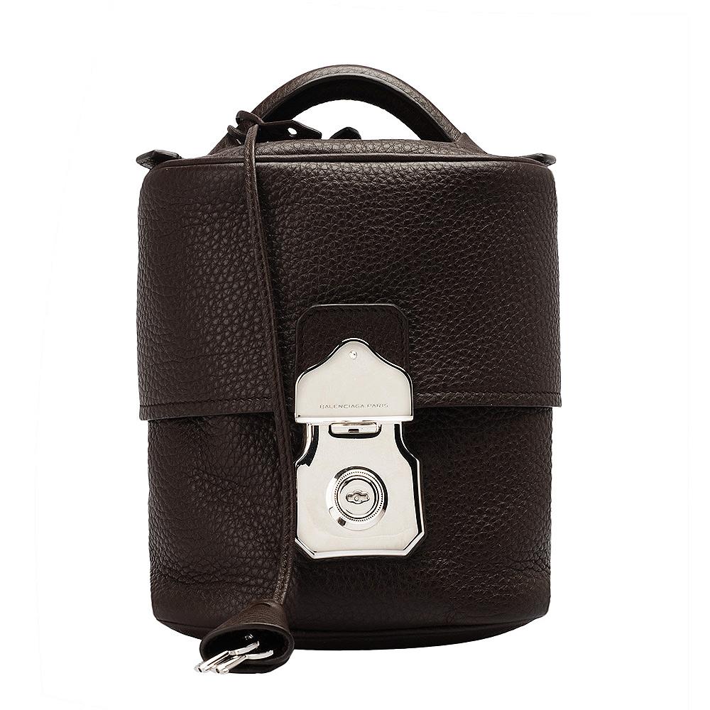 BALENCIAGA 橢圓造形直立式小牛皮銀色壓釦手提包(咖啡)BALENCIAGA