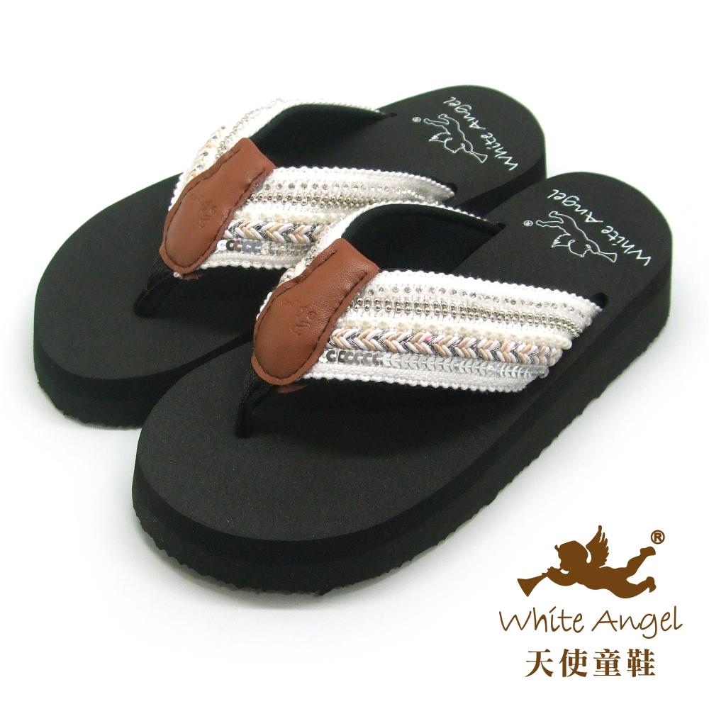 天使童鞋-卡爾蜜雅夾腳親子拖鞋(超大童)-白