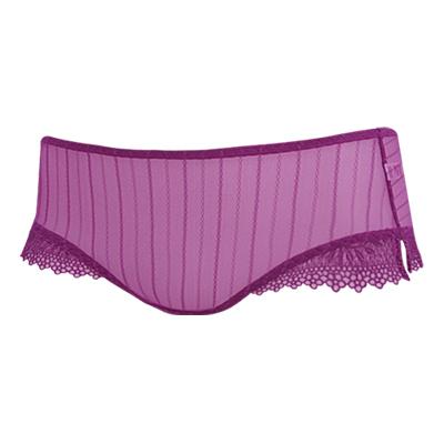 【曼黛瑪璉】V極線─隱誘 低腰平口蕾絲褲(寶石紫)