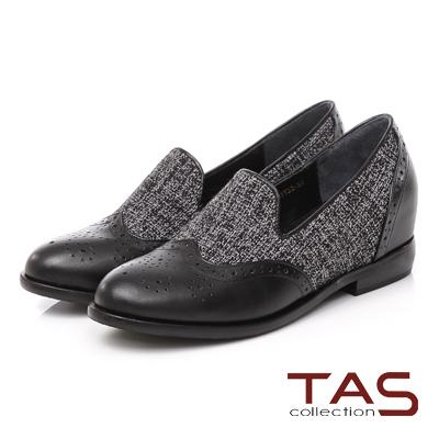 TAS 牛津拼接毛呢內增高樂福鞋-小香黑