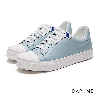 達芙妮DAPHNE 休閒鞋-綁帶拼接圓頭休閒鞋-淺藍