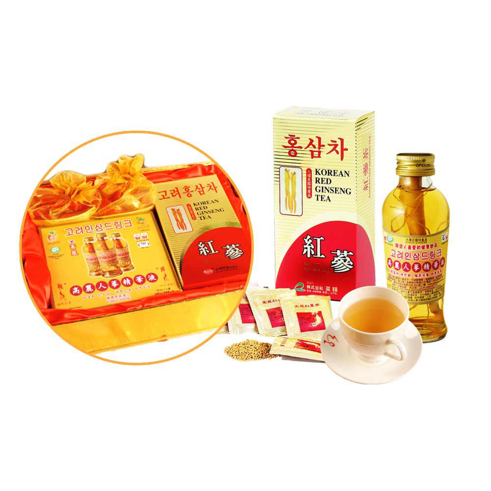 金蔘紅蔘茶包(30入x1盒)+紅蔘糖(90gx2盒)+人蔘精華液(3入x1盒)(伴手禮盒)