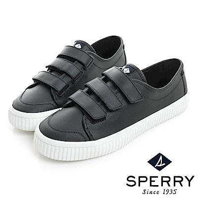 SPERRY 韓版皮革黏扣帶記憶鞋墊休閒鞋(女)-黑