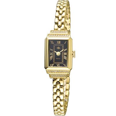玫瑰錶 Rosemont 骨董風玫瑰系列時尚鍊錶-金x黑/15x26mm