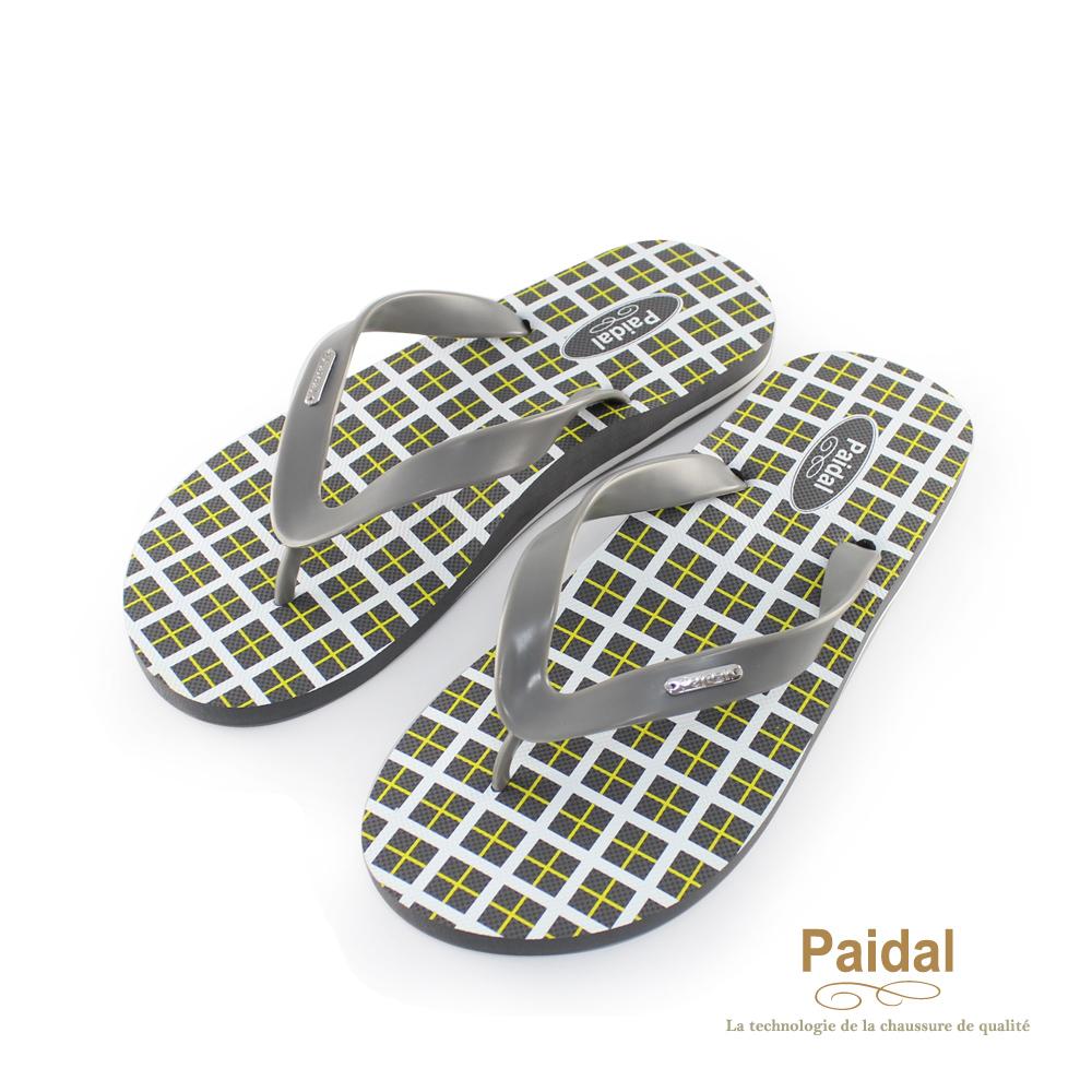 Paidal 男款英格蘭方格夾腳拖海灘拖人字拖鞋-灰
