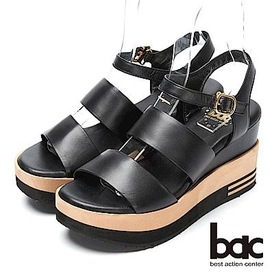 bac優雅品味-經典簡約厚底台涼鞋-黑色