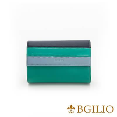 義大利Bgilio Nappa軟牛皮獨特配色釦式短夾-淺綠色-1942.306A-08