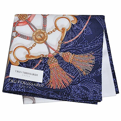 TRUSSARDI 優雅品牌流蘇浮水印圖騰LOGO大帕領巾(深藍)