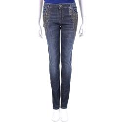 TWIN SET 藍色鉚釘貼飾心型釦刷色牛仔褲