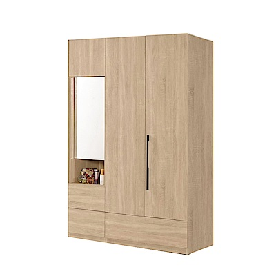 品家居 莉斯4尺橡木紋三門三抽衣櫃組合-120.5x58x197cm免組
