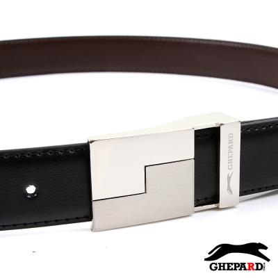 GHEPARD捷豹-俄羅斯方塊頭配二層牛皮點扣皮帶-G430