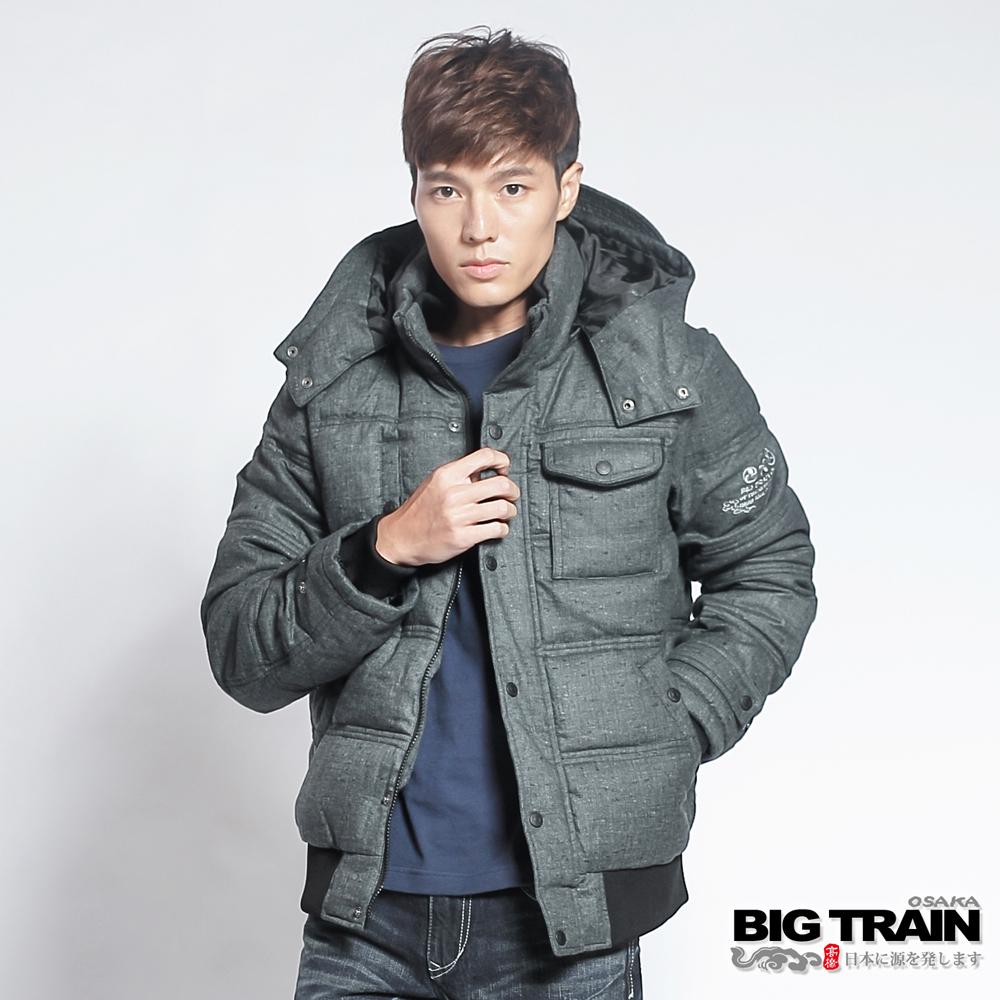 BIG TRAIN 人字紋仿毛呢絲棉外套-男-黑色