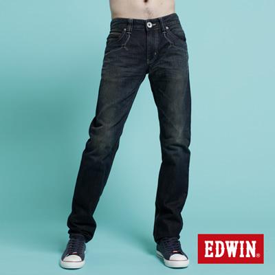 EDWIN-蛻變混搭-假袋蓋純棉合身AB牛仔褲-男款-酵洗藍