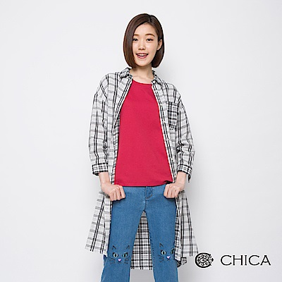 CHICA 自在方程式口袋格紋拼接長版襯衫(3色)
