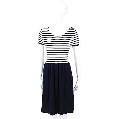 ALLUDE 喀什米爾羊毛深藍色條紋針織洋裝