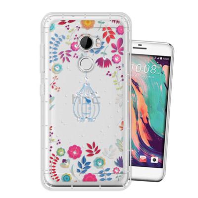 WT HTC One X10 奧地利水晶彩繪空壓手機殼(鳥羽花萃)