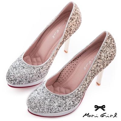 Mori girl夢幻公主-漸層亮片華麗風婚鞋 金