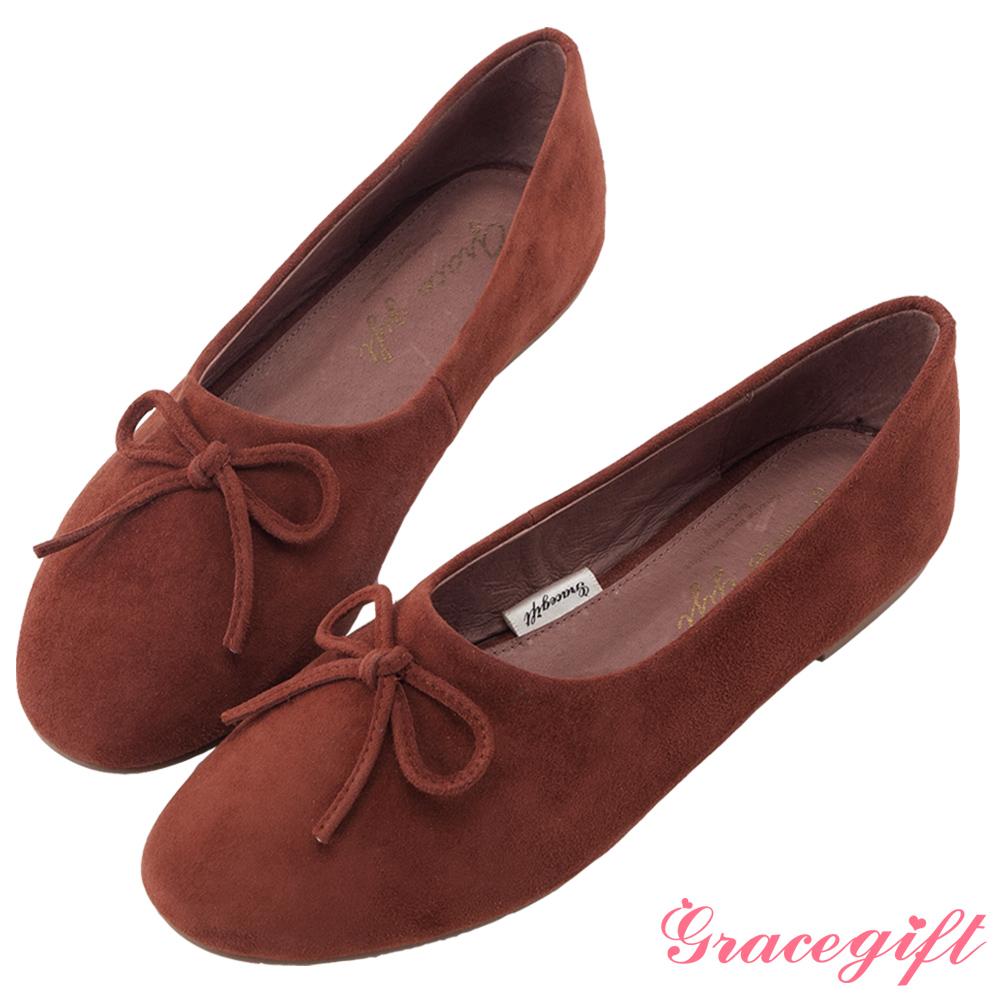 Grace gift-全真皮蝴蝶結平底娃娃鞋 磚紅