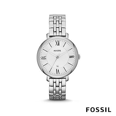 FOSSIL JACQUELINE 簡約不鏽鋼女錶-銀色 約36mm ES3433