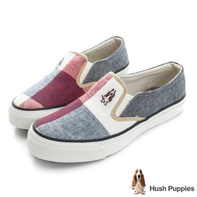 Hush Puppies 拼接格紋咖啡紗中性懶人鞋-組合