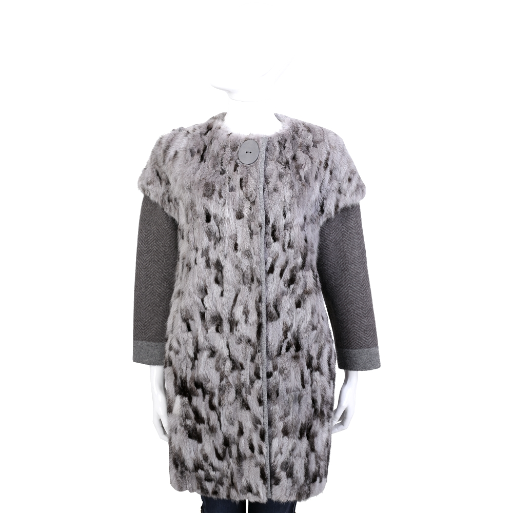 GRANDI furs 灰耦色雙材質拼接皮草外套